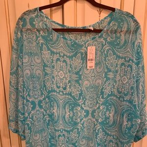 Turquoise sheer flows top